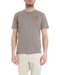 C P Company Cotton T-shirt In Mud-color - Gray