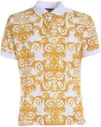 Versace Jeans Couture Logo Baroque Print Polo Shirt - White
