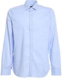 Corneliani Cotton Poplin Shirt - Blue