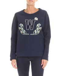 Woolrich - Blue Crewneck Sweatshirt With Logo - Lyst