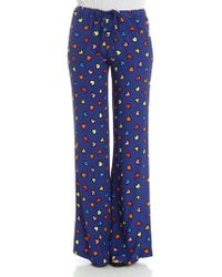 Love Moschino - Blue Trousers With Hearts Print - Lyst
