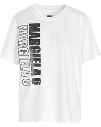 MM6 by Maison Martin Margiela - T-Shirt Logo Stile Motocross Bianca - Lyst