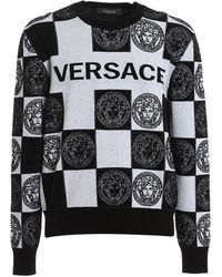 Versace All-over Logo Wool Blend Sweater - Black
