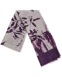 Altea - Grey And Purple Floral Embroidery Scarf - Lyst