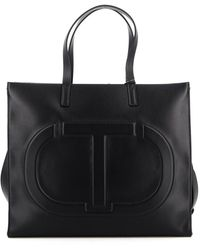 Twin Set - Embossed Logo Faux Leather Tote - Lyst