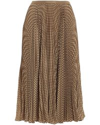 Polo Ralph Lauren Houndstooth Print Pleated Midi Skirt - Brown