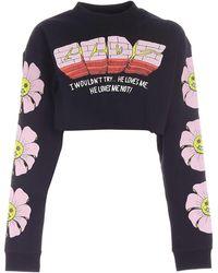 Gcds Printed Cropped Sweatshirt - Black