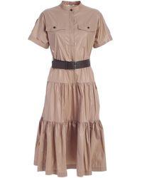 Peserico Gathering Midi Dress - Brown