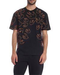 McQ Swallow Contrast Dropped T-shirt - Black
