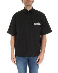Moschino - Camicia Nera Con Stampe Logo - Lyst