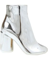 MM6 by Maison Martin Margiela Tabi Laminated Ankle Boots - Metallic
