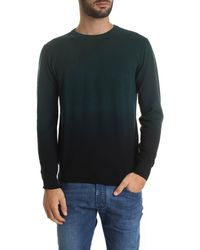 Paolo Pecora - Faded Effect Pullover In Glass Green And Black - Lyst