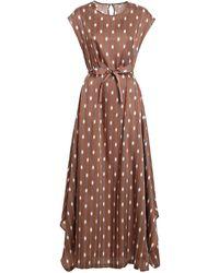 Peserico Satin Sleeveless Dress - Brown
