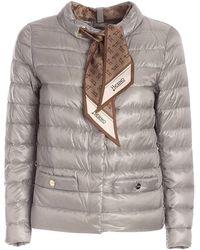 Herno Branded Scarf Padded Jacket - Grey
