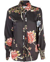 Victoria Beckham Floral Printed Shirt - Black