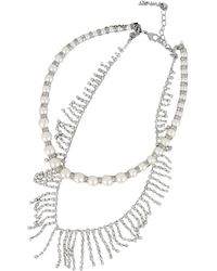 Twin Set Necklace With Pearls - Metallic
