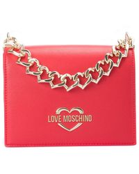 Love Moschino Chain Hearts Shoulder Bag - Red