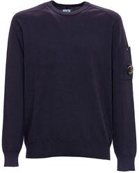 C.P. Company Maglia Crepe Garment Dyed Blu