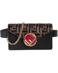 Fendi - Belt Bag In Black With Ff Flap - Lyst
