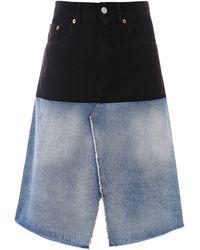 MM6 by Maison Martin Margiela Two-tone Denim Skirt - Black