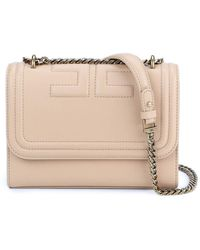 Elisabetta Franchi Quilted Faux Leather Cross Body Bag - Natural