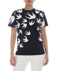 McQ Black T-shirt With Swallow Print
