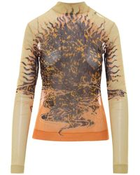 Givenchy T-Shirt A Maniche Lunghe Gialla Stampata - Giallo