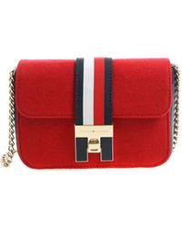 Tommy Hilfiger - Red Shoulder Bag With Logo - Lyst