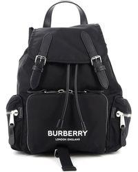 Burberry Rucksack In Logo Print Medium Black