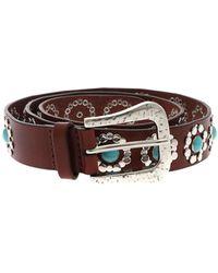Orciani Cintura Bull marrone con decorazioni argentate