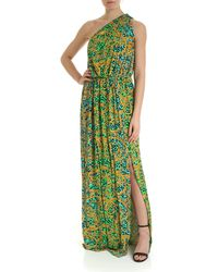 Versace Jeans Couture One-shoulder Printed Gown - Green