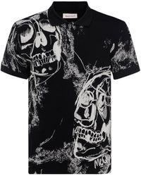 Alexander McQueen Skull Patterned Polo - Black