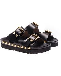 Maria Cristina - Black Leather Slides With Studs - Lyst