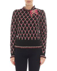 Elisabetta Franchi - Black And Pink Pullover With Brooch - Lyst