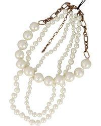 Twin Set Multi-threaded Pearl Necklace - Metallic