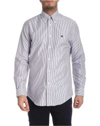 Brooks Brothers - Burgundy And Blue Striped Button Down Shirt - Lyst