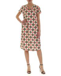 Aspesi Geometric Print Dress - White
