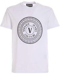 Versace Jeans Couture - T-Shirt V-Emblem Bianca - Lyst