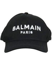 Balmain Cappellino Nero Da Baseball Con Ricamo Logo