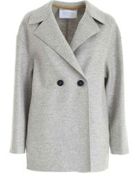 Harris Wharf London Double-breasted Coat - Grey