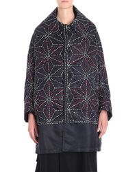 Y's Yohji Yamamoto Dark Blue Coat With Red And White Embroidery
