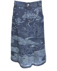 RED Valentino Oriental Toile De Jouy Motif Skirt - Blue