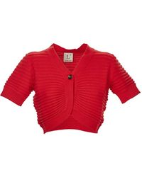 L'Autre Chose Short Sleeves Cardigan - Red
