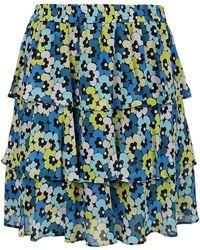 Michael Kors Floral Patterned Mini Skirt - Blue