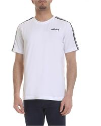 adidas T-shirt Essetials-3 Stripes bianca - Bianco