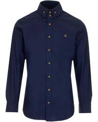 Vivienne Westwood - Camicia Blu Con Ricamo Logo Orb - Lyst