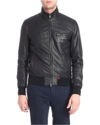 Stewart - Black Grained Leather Leather Jacket - Lyst