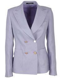 Tagliatore Linen Blazer - Purple