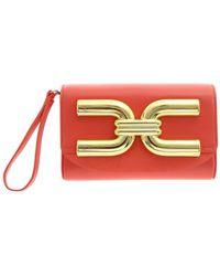 Elisabetta Franchi Golden Logo Clutch Bag - Pink