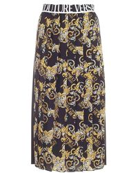Versace Jeans Couture Logo Baroque-print Pleated Skirt - Black
